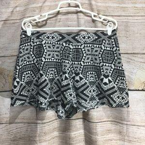 Charlotte Russe Large shorts black Aztec pattern